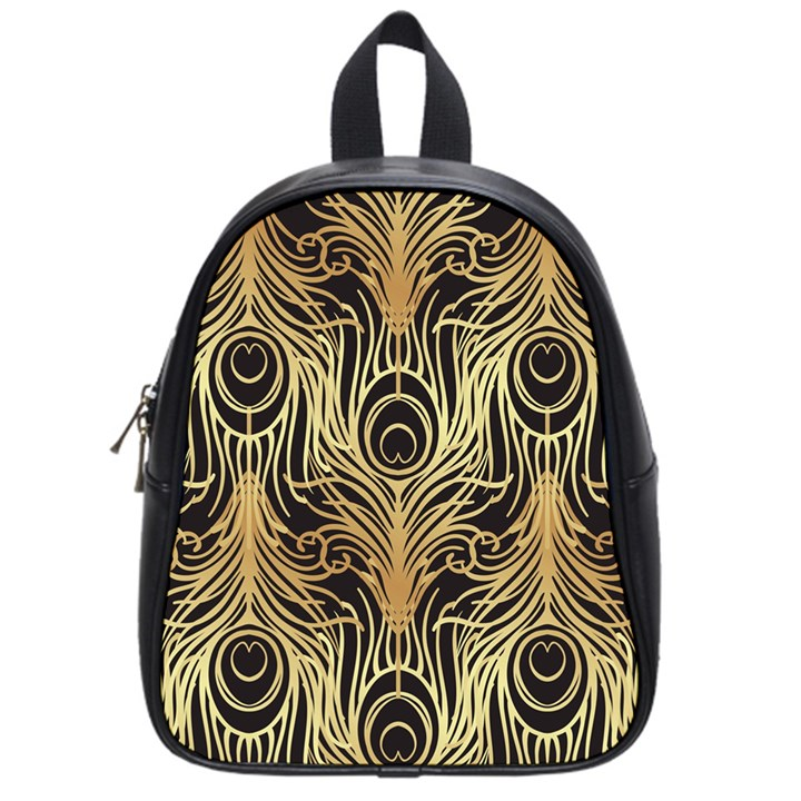 gold, black,peacock pattern,art nouveau,vintage,belle epoque,chic,elegant,peacock feather,beautiful School Bag (Small)