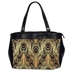 Gold, Black,peacock Pattern,art Nouveau,vintage,belle Epoque,chic,elegant,peacock Feather,beautiful Office Handbags (2 Sides)  by 8fugoso
