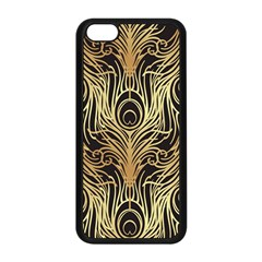Gold, Black,peacock Pattern,art Nouveau,vintage,belle Epoque,chic,elegant,peacock Feather,beautiful Apple Iphone 5c Seamless Case (black) by 8fugoso