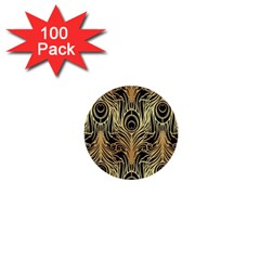 Gold, Black,peacock Pattern,art Nouveau,vintage,belle Epoque,chic,elegant,peacock Feather,beautiful 1  Mini Buttons (100 Pack)  by 8fugoso