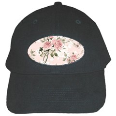 Pink Shabby Chic Floral Black Cap by 8fugoso