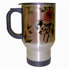 Pink Shabby Chic Floral Travel Mug (silver Gray) by 8fugoso