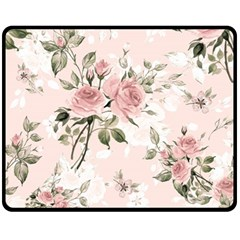Pink Shabby Chic Floral Fleece Blanket (medium)  by 8fugoso