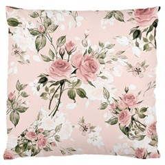 Pink Shabby Chic Floral Large Cushion Case (two Sides) by 8fugoso