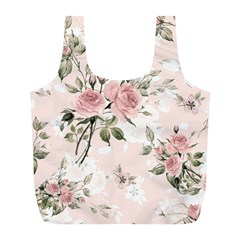 Pink Shabby Chic Floral Full Print Recycle Bags (l)  by 8fugoso