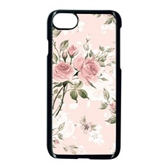 Pink Shabby Chic Floral Apple Iphone 7 Seamless Case (black) by 8fugoso