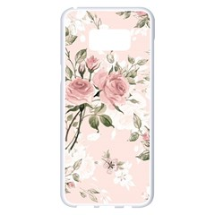 Pink Shabby Chic Floral Samsung Galaxy S8 Plus White Seamless Case by 8fugoso