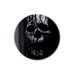 Black And Grey Nightmare Rubber Coaster (round)