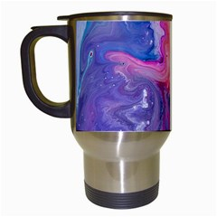 Marbled,ultraviolet,violet,purple,pink,blue,white,stone,marble,modern,trendy,beautiful Travel Mugs (white)