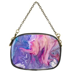 Marbled,ultraviolet,violet,purple,pink,blue,white,stone,marble,modern,trendy,beautiful Chain Purses (two Sides)