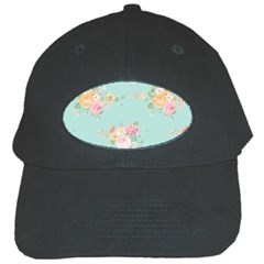 Mint,shabby Chic,floral,pink,vintage,girly,cute Black Cap by 8fugoso