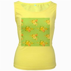 Mint,shabby Chic,floral,pink,vintage,girly,cute Women s Yellow Tank Top by 8fugoso