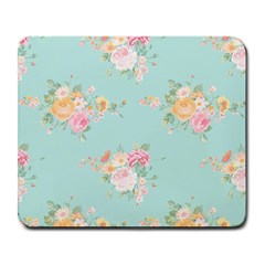 Mint,shabby Chic,floral,pink,vintage,girly,cute Large Mousepads by 8fugoso