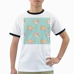 Mint,shabby Chic,floral,pink,vintage,girly,cute Ringer T Shirts by 8fugoso