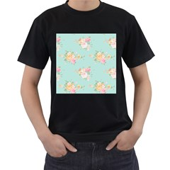 Mint,shabby Chic,floral,pink,vintage,girly,cute Men s T Shirt (black) (two Sided) by 8fugoso