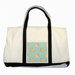 Mint,shabby Chic,floral,pink,vintage,girly,cute Two Tone Tote Bag by 8fugoso