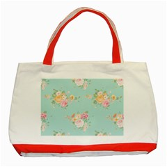Mint,shabby Chic,floral,pink,vintage,girly,cute Classic Tote Bag (red) by 8fugoso