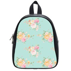 Mint,shabby Chic,floral,pink,vintage,girly,cute School Bag (small) by 8fugoso