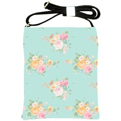 Mint,shabby Chic,floral,pink,vintage,girly,cute Shoulder Sling Bags by 8fugoso