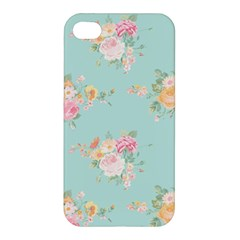 Mint,shabby Chic,floral,pink,vintage,girly,cute Apple Iphone 4/4s Hardshell Case by 8fugoso
