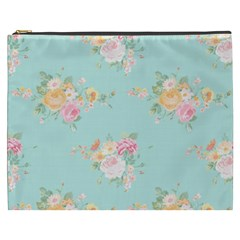 Mint,shabby Chic,floral,pink,vintage,girly,cute Cosmetic Bag (xxxl)  by 8fugoso