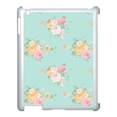 Mint,shabby Chic,floral,pink,vintage,girly,cute Apple Ipad 3/4 Case (white) by 8fugoso