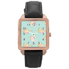 Mint,shabby Chic,floral,pink,vintage,girly,cute Rose Gold Leather Watch  by 8fugoso
