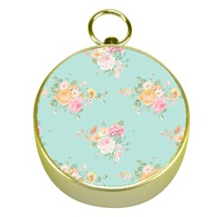 Mint,shabby Chic,floral,pink,vintage,girly,cute Gold Compasses by 8fugoso