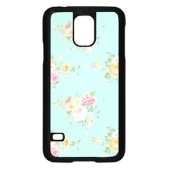 Mint,shabby Chic,floral,pink,vintage,girly,cute Samsung Galaxy S5 Case (black) by 8fugoso