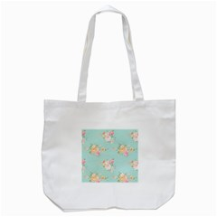 Mint,shabby Chic,floral,pink,vintage,girly,cute Tote Bag (white) by 8fugoso