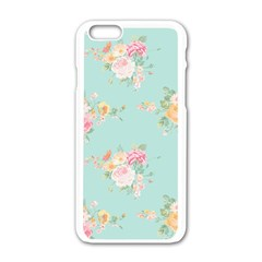 Mint,shabby Chic,floral,pink,vintage,girly,cute Apple Iphone 6/6s White Enamel Case by 8fugoso