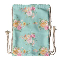 Mint,shabby Chic,floral,pink,vintage,girly,cute Drawstring Bag (large) by 8fugoso