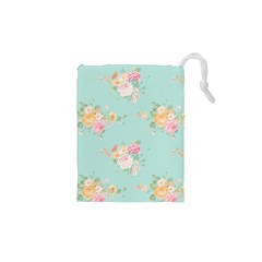 Mint,shabby Chic,floral,pink,vintage,girly,cute Drawstring Pouches (xs)  by 8fugoso