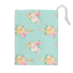 Mint,shabby Chic,floral,pink,vintage,girly,cute Drawstring Pouches (extra Large) by 8fugoso