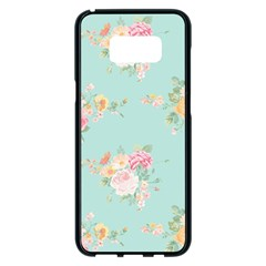 Mint,shabby Chic,floral,pink,vintage,girly,cute Samsung Galaxy S8 Plus Black Seamless Case by 8fugoso