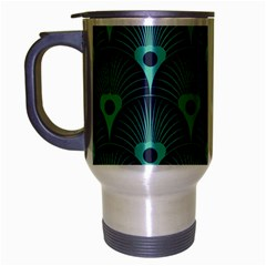 Blue,teal,peacock Pattern,art Deco Travel Mug (silver Gray) by 8fugoso