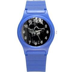 Black And Grey Nightmare Round Plastic Sport Watch (s) by vwdigitalpainting