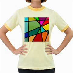 Modern Abstract Women s Fitted Ringer T Shirts by vwdigitalpainting