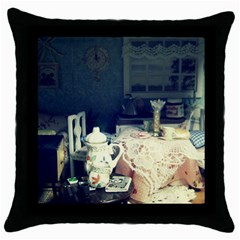 Abandonded Dollhouse Throw Pillow Case (black) by snowwhitegirl