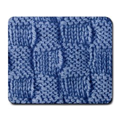 Knitted Wool Square Blue Large Mousepads by snowwhitegirl