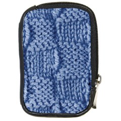Knitted Wool Square Blue Compact Camera Cases by snowwhitegirl