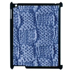 Knitted Wool Square Blue Apple Ipad 2 Case (black)