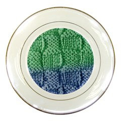 Knitted Wool Square Blue Green Porcelain Plates by snowwhitegirl