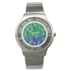 Knitted Wool Square Blue Green Stainless Steel Watch by snowwhitegirl