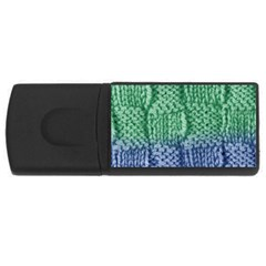 Knitted Wool Square Blue Green Rectangular Usb Flash Drive by snowwhitegirl