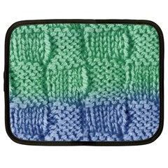 Knitted Wool Square Blue Green Netbook Case (large) by snowwhitegirl