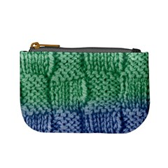 Knitted Wool Square Blue Green Mini Coin Purses by snowwhitegirl