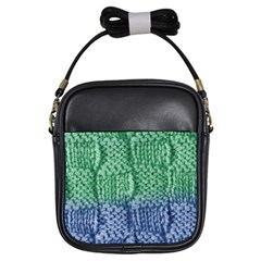 Knitted Wool Square Blue Green Girls Sling Bags by snowwhitegirl
