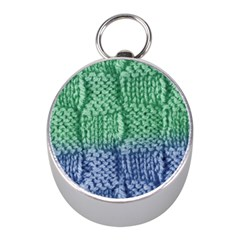Knitted Wool Square Blue Green Mini Silver Compasses by snowwhitegirl