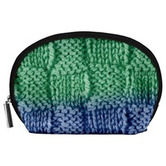Knitted Wool Square Blue Green Accessory Pouches (large)  by snowwhitegirl